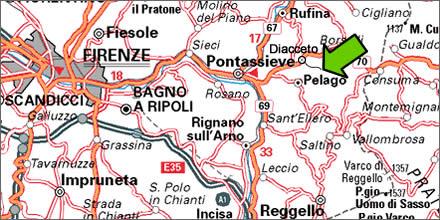 carta stradale per raggiungere il Mastio summer camp - Firenze - Pontassieve - Diacceto - Ferrano